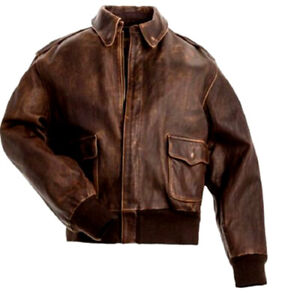 Aviator-A-2-Flight-Jacket-Distressed-Brown-Real-Cowhide-Leather-Bomber-Jacket