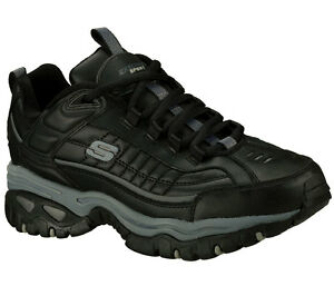 Skechers-Black-EW-Wide-Width-shoes-Men-New-Sport-Train-Leather-Sneaker-50081-BBK