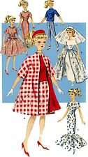 Vintage Doll Clothes PATTERN 9993 for 11.5 in Barbie Midge Francie  by Mattel