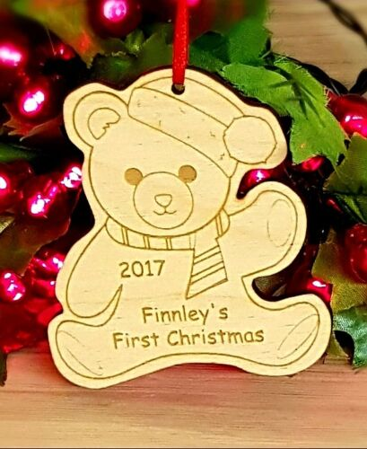 Personalised Baby/'s first christmas tree Teddy Décoration Babiole Cadeau En Bois