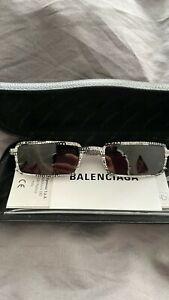 BALENCIAGA Rectangle-Frame Logo-Print Acetate Sunglasses Sonnenbrille Neu new