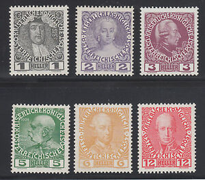 Austria-Sc-110a-116a-MNH-1908-13-definitives-on-chalky-paper-6-different-fresh