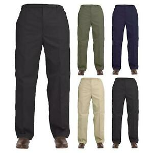 Men`s Elasticated Waist Work Casual Plain Rugby Cotton Trousers Pants Big Size