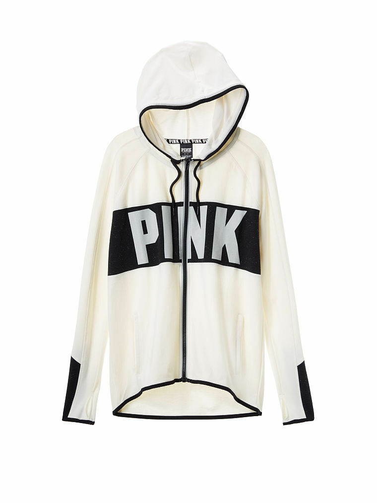 Victorias Secret PINK Stretch Fleece High Low Full Zip Hoodie Reflective Cream S