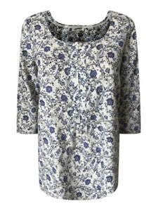 Ex-Fat-Face-Ladies-Blue-amp-White-Floral-Casual-Cotton-Summer-Top-6-16