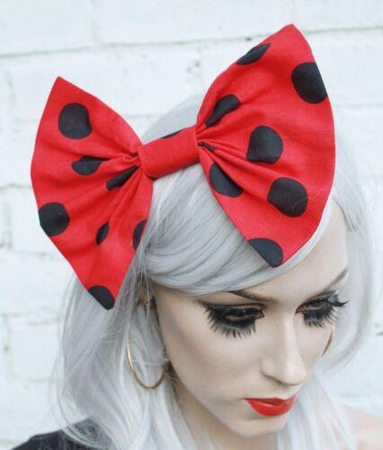 Minnie Rojo Estilo Vintage Años 50 irregulares Cabello Moño Cabello Clip Rockabilly Loli Goth