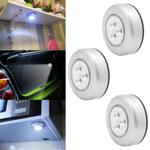 3x STICK-ON PUSH ON OFF LED LAMP CLOSET KITCHEN UNDER CABINET BATTERIES LIGHTING