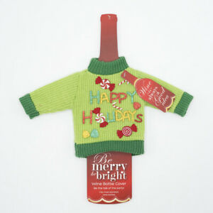 Details about Happy Holidays Ugly Christmas Sweater Wine Bottle Costume Cover Gift Wrap