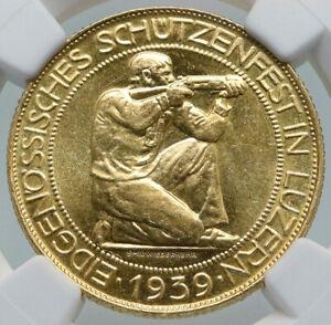 1939 B SWITZERLAND LUCERNE Large Antique Swiss Gold 100 Francs Coin NGC i87195