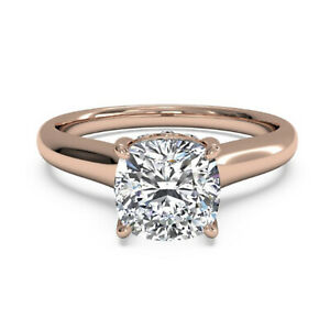 2.06 Ct Cushion Moissanite Anniversary Superb Ring 18K Solid Rose Gold Size 6 7