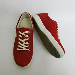 Ecco-Womens-Shoes-Sneakers-Red-Nubuck-Lace-Up-Womens-Size-US-5-EU-36