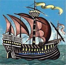 "WILLIAM DE MORGAN GALLEON SHIP 20cm 8"" DESIGN B CERAMIC TILE TEAPOT STAND TRIVET"