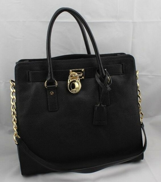a262a7064d29 Michael Kors Hamilton Large North South Tote Purse Bag Black 38t6xhmt7l
