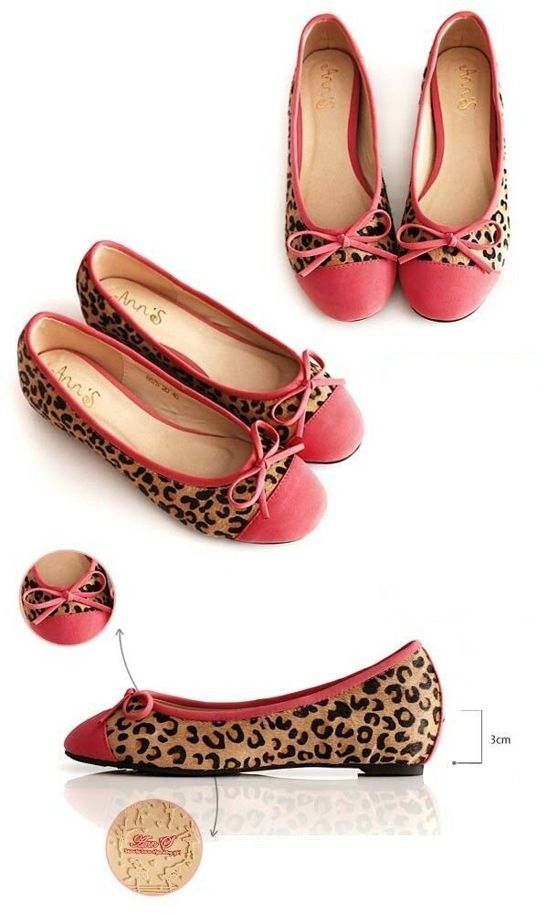 Dotelle Ann'S Megan Leopard Ballet Flats Pink Women's shoes