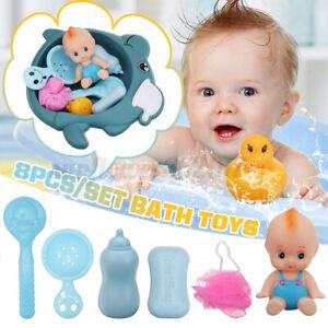 8PCS Baby Kids Bath Toy Basin Doll Duck Shower Bathtub Floating Bathroom Toys !