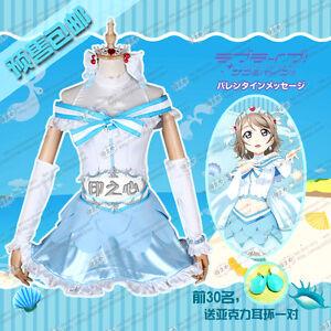 Love Live Sunshine You Watanabe Aqours Cosplay Costume Aquarium Blue Dress Skirt