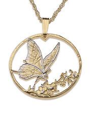 "Butterfly Pendant & Necklace Korean hand Cut Coin 1"" diameter ( # 729 )"