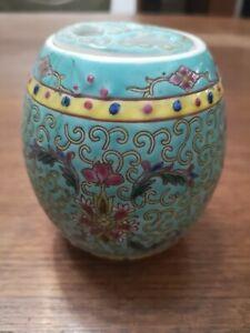 Vaso cinese porta incenso in porcellana decorata a mano
