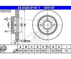 2 Pièces Ate Powerdisc Disques De Frein De L'essieu Avant Ford 24.0320-0147 Ate Pzu2ygmn-08010103-177821947