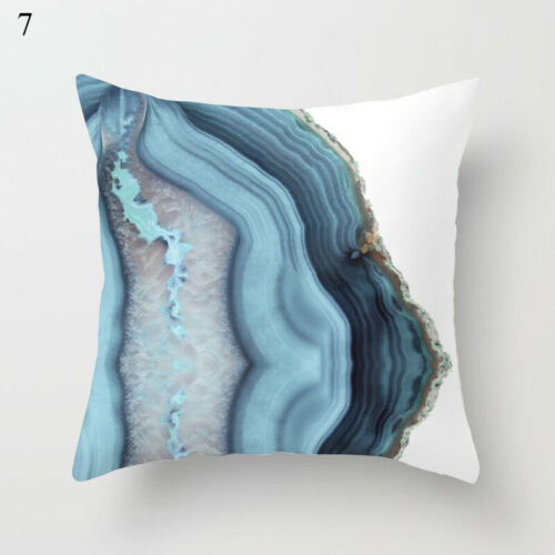 Kissenbezug Blau Geometrisch Bedruckt Eckig Überwurf Kissenbezüge Sofa Wohndeko