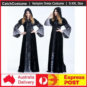 Women-Witch-Costume-Long-Vampire-Fancy-Black-Dress-with-Hood-Cosplay-Halloween