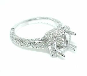 1-75-CT-BEAUTIFUL-Cushion-Halo-DIAMOND-Shank-Engagement-Ring-Setting-14K-WG
