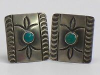 Vintage Native American Sterling Silver And Turquoise Cuff Links
