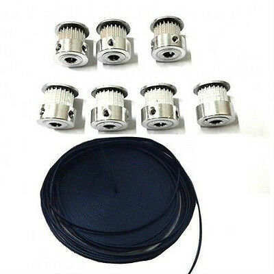 5 Meters GT2 Timing Belt + 5pcs GT2 20 Tooth Timing Pulley for 3D printer CNC