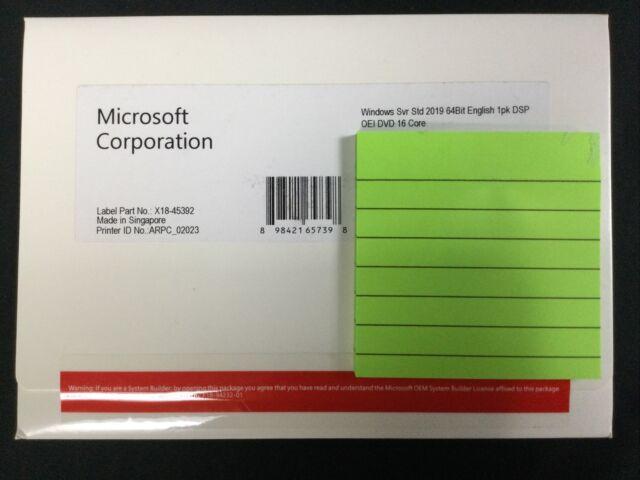 Microsoft Windows Svr Std 2019 64bit English 1pk DSP OEI DVD 16 Core
