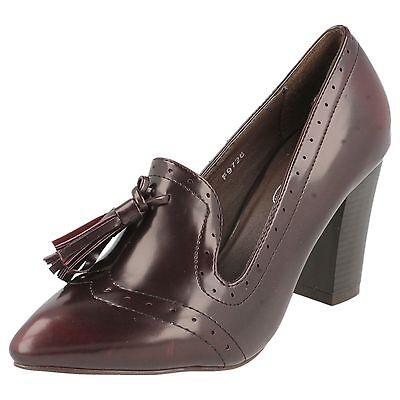 OFERTA Spot On f9726 mujer Burdeos 3 Block de tacón Sintético Zapatos Oxford