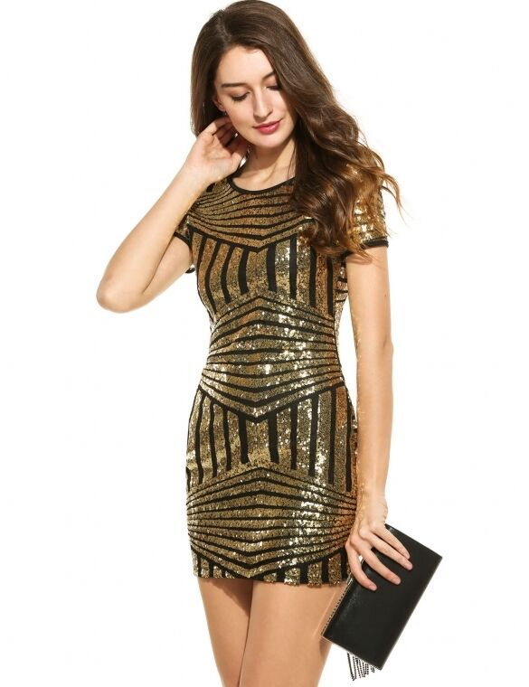 21868331b3b1 Vestito mini abito tubino tubino tubino donna paillettes elegante moda nero  oro 3305 a06844