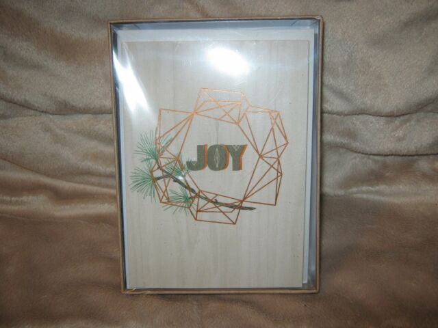 12 Hallmark Studio Ink Boxed Christmas Cards Envelopes Joy Wreath Design Nip For Sale Online