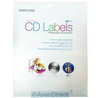 50 Memorex Cd Dvd White Matte Paper Inkjet Laser Labels [free Fast Shipping]