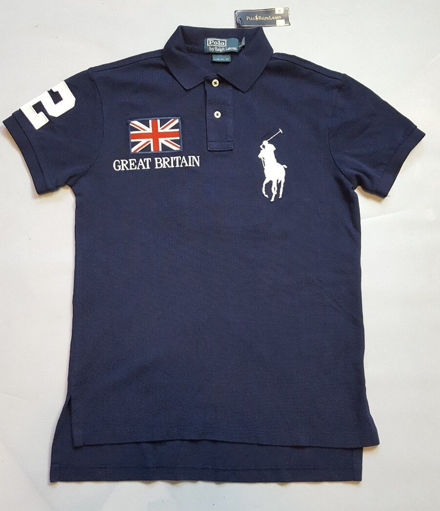 POLO RALPH LAUREN damen NAVY POLO SHIRT WITH GREAT BRITAIN EMBROIDERY Größe S