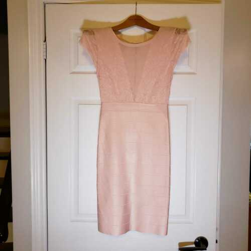 BEBE SALMON PINK LACE AND DEEP V MESH INSERT SEXY