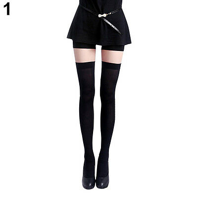 Women's Vogue Pure Color Opaque Sexy Thigh High Stockings Over The Knee Socks