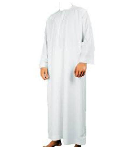 BIANCO jubbah / thobe / Omani MUSSULMANO arabo uomo vestito taglia 50,52, 54,56,