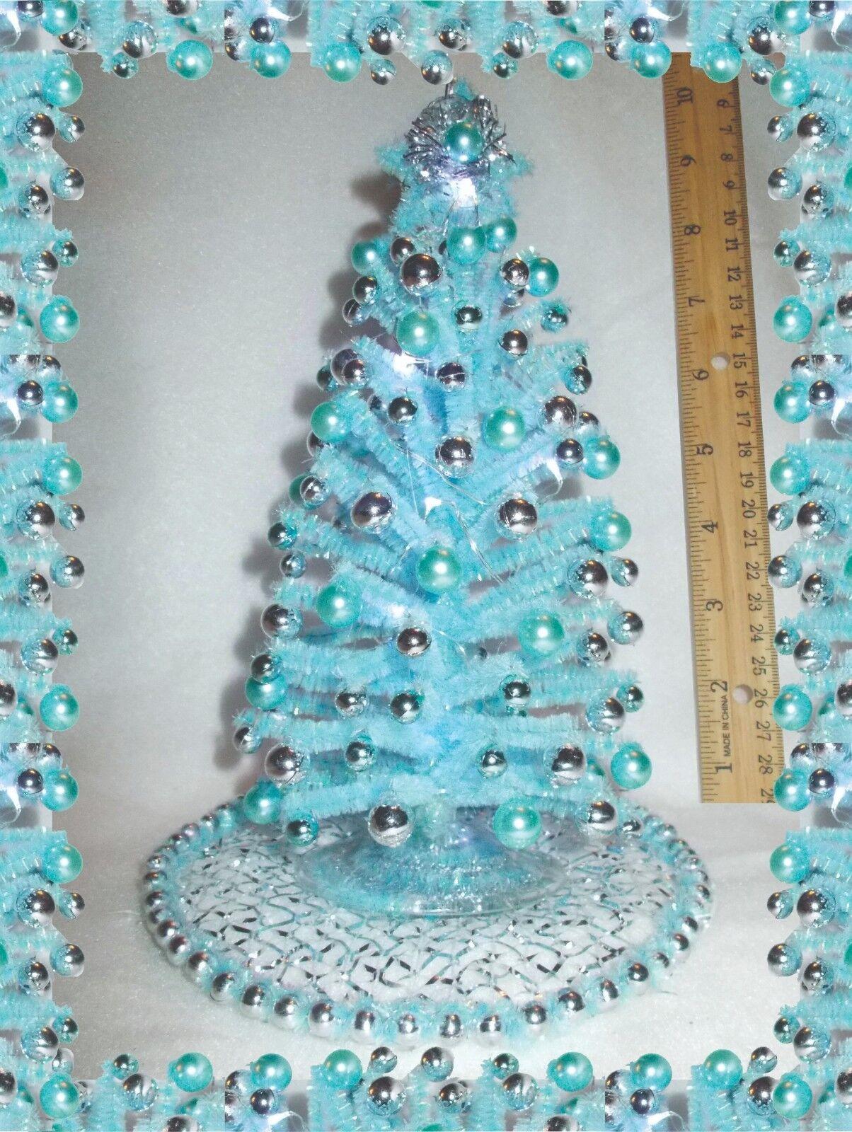 Nuevo  casa de muñecas en miniatura de ooak 8.5  Azul Iluminado árbol de Navidad de mediados de siglo moderna