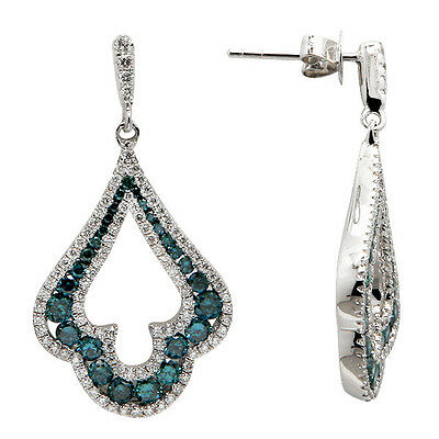FINE NATURAL 14K WHITE GOLD PAVE BLUE DIAMOND TEARDROP DANGLE DANGLING EARRINGS