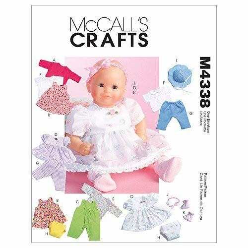 McCall/'s 4338 Sewing Pattern to MAKE Baby Doll Clothes suitable for Zapf Dolls