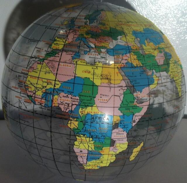 "3 GLOBE BEACH BALLS 12"" Pool Party Earth World Map Teacher #AA46 Free Shipping"