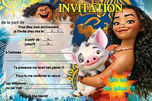 Carte Anniversaire Vaiana.Details Sur 5 12 Ou 14 Cartes Invitation Anniversaire Vaiana Ref 418