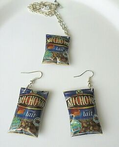 Parure-BONBONS-mini-sachets-Collier-pendentif-Boucles-oreilles-Cadeau-Gourmand