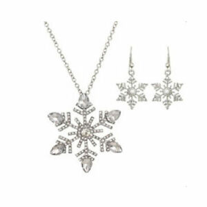 Details About Clearance Crystal Snowflake Necklace Earrings Set Sparkle 1747