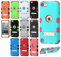 Ipod Touch 5th 6th Gen Rubber Impact Tuff Hybrid Kick Stand Case +screen Guard