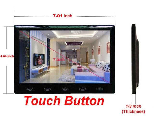 "Ultra Thin 7"" LCD CCTV Monitor PC Screen AV/RCA/VGA/HDMI for DSLR Raspberry PI"
