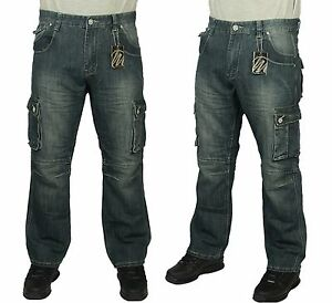 Mens-Jeans-Denim-BNWT-Combate-Cargo-Pantalones-mas-reciente-de-Disenador-Elegante-Casual-30-60