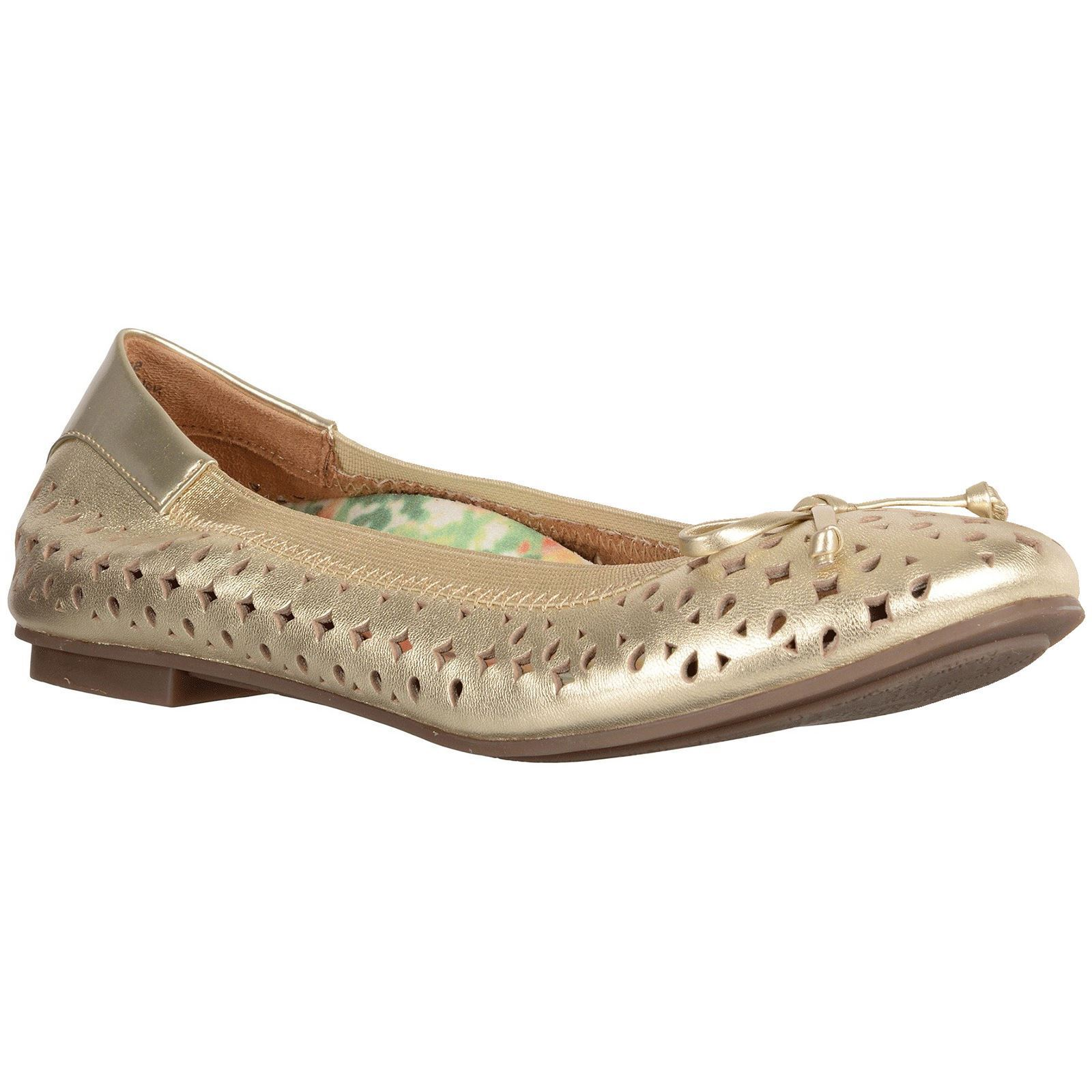 Vionic 359 Surin Spark Gold Womens Leather Ballet Flats Ballerinas Shoes