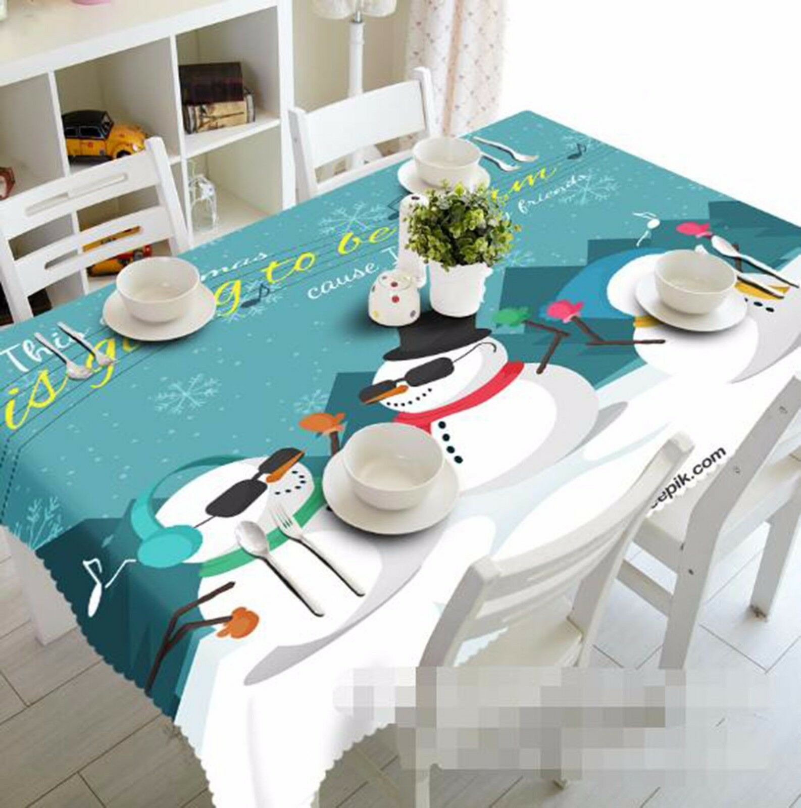3D Bonhomme de neige 49 Nappe Table Cover Cloth fête d'anniversaire AJ papier peint Royaume-Uni Citron