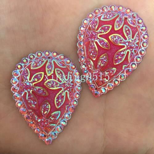 DIY 4PCS 30*40mm AB Resin Drop Flatback Rhinestone flower Wedding 2hole Buttons